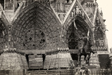 Ugo Ojetti Poses in Front of the Reims Cathedral and the Equestrian Monument to Joan of Arc Photographic Print