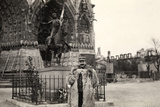Ugo Ojetti Poses in Front of the Equestrian Monument to Joan of Arc Photographic Print