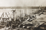 Construction of a Wooden Bridge for a Temporary Detour on the Piave Photographic Print