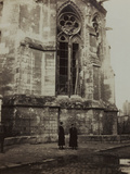 Harriet and Anita Self Photographed in Front of the Cathedral of Reims Damaged During Bombing Photographic Print