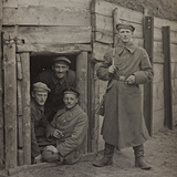 First World War: A Group of Belgian Soldiers in a Bunker Photographic Print