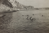 First World War: Austrian Soldiers While Bathing in the River Isonzo Photographic Print