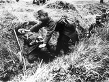 A French Soldier Has Gone Out of the Trench to Help a Wounded Comrade Photographic Print
