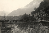 Italian Soldiers Traverse a Bridge over the Isonzo River, on the Outskirts of Caporetto Photographic Print by Ugo Ojetti