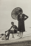 Young Woman with Umbrella and Boy on Pedal Boats on the Beach of Forte Dei Marmi Photographic Print