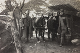 World War I: Italian Soldiers with a Donkey Near a Fountain on the Col Di Lana Photographic Print