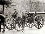 The Image Shows Two Men and a Boy, Forced to Pull the German Cannons to Antwerp Photographic Print