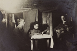 War Campaign 1917-1920: Asiago Plateau 1918, Military Who Play Guitar in a Shed Photographic Print