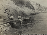 First World War: Austrian Soldiers on the Bank of the River Isonzo Photographic Print