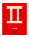 Gemini Zodiac Sign White on Red Prints