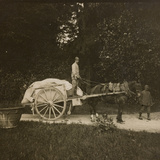 WWI: Soldiers with a Cart in the Park of Villa Brazzà, Home to 17 of the Hospital of War Photographic Print