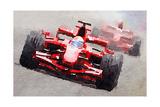 Ferrari F1 Race Watercolor Plakat autor NaxArt