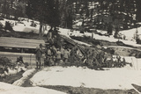 World War I: Group of Alpine Soldiers at a Military Provision Photographic Print
