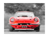 Ferrari Dino 246 GT Front Watercolor Prints by  NaxArt