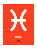 Pisces Zodiac Sign White on Orange Posters by  NaxArt