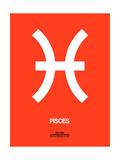 Pisces Zodiac Sign White on Orange Posters