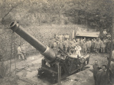 World War I: Italian Soldiers around a Cannon 105 at Oslavia Photographic Print