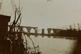 Bombing of the Railroad Bridge over the River Soca Photographic Print