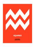 NaxArt - Aquarius Zodiac Sign White on Orange - Art Print