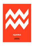 Aquarius Zodiac Sign White on Orange Art