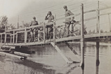 Campagna Di Guerra 1915-1916-1917-1918: Soldiers with Bicycles on a Wooden Bridge, Bay of Panzano Photographic Print