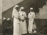 Group of Red Cross Nurses in a Military Hospital During the First World War Photographic Print