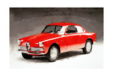 1958 Alfa Romeo Giulietta Sprint Watercolor Prints by  NaxArt