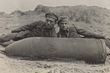 First World War: Two Belgian Soldiers with an Unexploded Shell on the Beach of Ostend Photographic Print