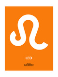 Leo Zodiac Sign White on Orange Art by  NaxArt