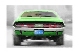 Dodge Challenger Rear Watercolor Prints by  NaxArt