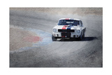 Mustang on Race Track Watercolor Prints