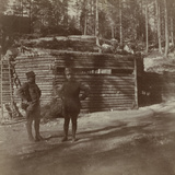 Pictures of War II: Italian Soldiers in Front of a Shelter for the Howitzers in Val Boite Photographic Print