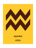 Aquarius Zodiac Sign Brown Prints by  NaxArt