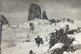 Italian Soldier on Snowy Mountain Nuvolau Photographic Print