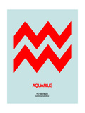Aquarius Zodiac Sign Red Posters