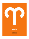 Aries Zodiac Sign White on Orange Posters