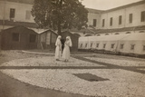 Pictures of War II: Red Cross Nurses in the Courtyard of the Orphanage, Vicenza Photographic Print
