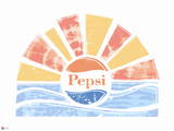 Pepsi - Distressed Sun and Wave Coastal 60's Inspired Graphic Wall Decal