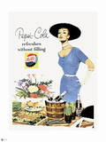 Pepsi - Vintage Pepsi Girl; Refresh without Filling 1950s Ad Wall Decal