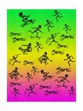 Human and Dog Skeletons Skateboarders and Warriors Art sur métal  par  Junk Food