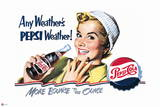 Pepsi - Vintage Pepsi Girl; Any Weather 1950 Ad Wall Decal