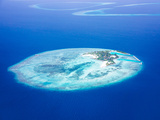 Islands Aerial View, Beautiful Blue Sea around Maldives Islands, Beauty of Nature, Exotic Tourism, Photographic Print by Anna Omelchenko