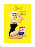 Pepsi - Vintage Pepsi Girl; Without Filling Bathing Beauty 1950s Ad Wall Decal