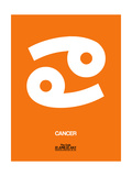 Cancer Zodiac Sign White on Orange Posters