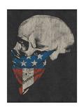 Skull and American Flag Bandana Metal Print by  Junk Food