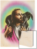 Airbrush Style Jesus-Looking Fella with a Little Black Lamb Wood Print by  Junk Food