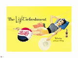 Pepsi - Vintage Pepsi Girl; Light Refreshment 1954 Ad Wall Decal