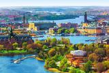 Aerial Panorama of Stockholm, Sweden Fotografisk tryk af  Scanrail