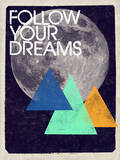 Follow Your Dreams - Moon and Triangles Design Wall Decal by  Junk Food