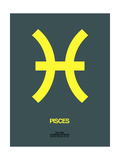 Pisces Zodiac Sign Yellow Prints by  NaxArt